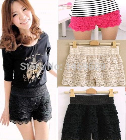 Fashion Korean Sweet Crochet Tiered Lace Shorts Skorts Short Pants Womens(China (Mainland))