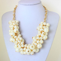 2014 Hot Sale Elegent Pearl Necklace  Chain Twining Chunky Statement Necklaces for Women KK-SC764 free shipping