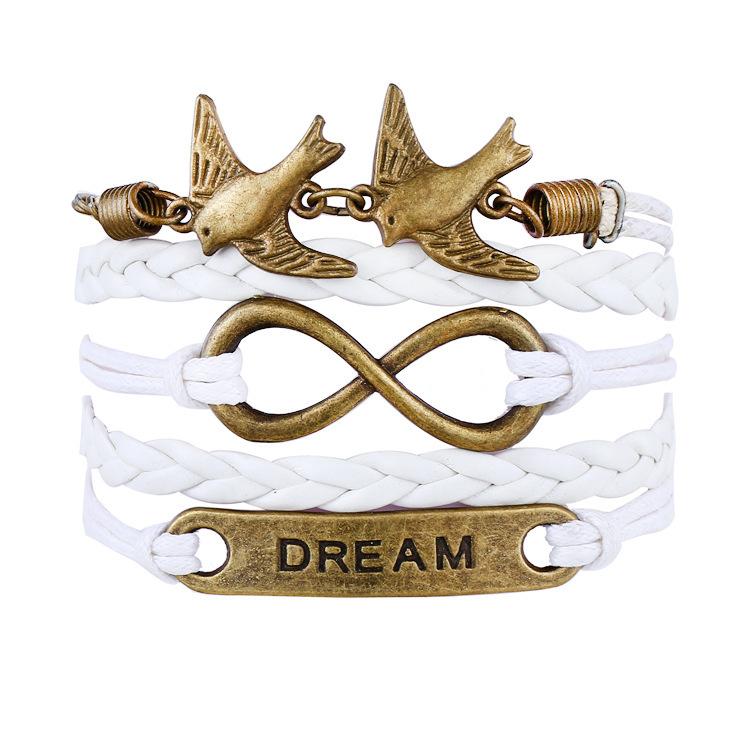 Mix Infinity love leather love owl Leaf charm handmade bracelet bangles jewelry friendship gift items leather bracelet(China (Mainland))