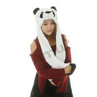 Amur Cartoon Plush Beanie Fleece Winter Warm Animal Bomber Hats scarf gloves
