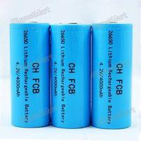 Blue New Hot 2Pcs 26650 4000mAh 4.2V Rechargeable Battery