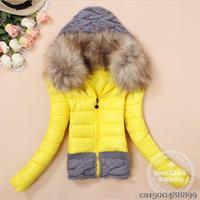M-3XL/ winter autumn new thickening hood short design wadded large fur collar down jacket cotton-padded fur collar outerwear