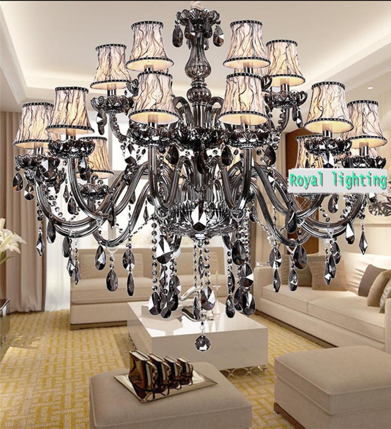 Grey Chandelier Wall Lights : 15-lights-Large-smoky-grey-chandelier-modern-crystal-chandelier-lighting-fixture-lustres-de ...
