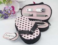 80pcs / lot =20box / lot Pink Polka Purse Slippers Shaped Cute Creative Manicure Set Wedding Gift Favors free shipping