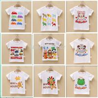 2015 baby white cartoon t shirt for summer kids cute clothes 8pcs/lot wholesale boy girl backing tshirt children t-shirts