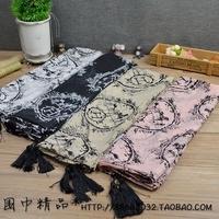 happyatomic classic h carriage tassel velvet travel large facecloth scarf female 14120208