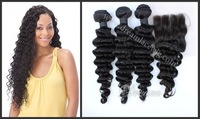 Free Shipping! Christmas Promotion, Grade 6A Virgin Brazilian Hair Deep Wave With Closure, Unprocessed Hair Brazilian Curly