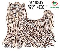 Rhinestone Iron on Transfer Hot fix Motif crystal Fashion Design Lhasa dog christmas rhinestone transfer