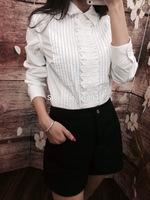New 2015 spring autumn women brand vintage fashion runway cotton shirt white black red turn down collar lace ruffles tops shirts