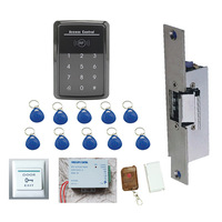 Free shipping Access Control kit , Rfid keypad access control, power supply, Electric Strike Lock.exit button, 10 em key fob