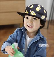Retail 2014 Children's cartoon yellow eaves baseball cap range baby cute hip-hop cap baby cotton caps baby boy' caps