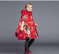 High End 2014123 children jacket&outerwear,girls Sicily printing cotton hooded cloak cape coat windbreaker jacket children