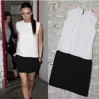 Summer Fashion Sleeveless O Neck Patchwork Women Casual Dress OL Style Lady Work Wear Freeshipping 2014 High Quality   WZA852