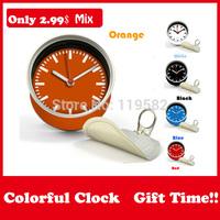 2015 Wholesale Colorful Mix Designs Gifts Orange Color Clocks Magnetic Wall Clocks in Desk Tin Clock Mix Design Moq 100PCS