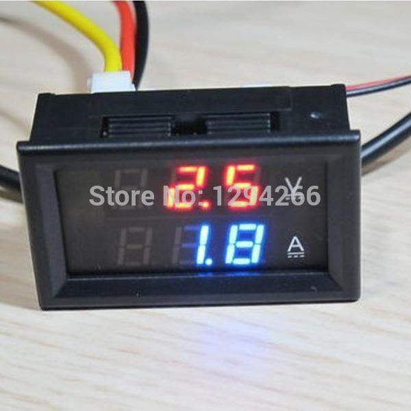 Cheapest price Red Blue LED DC 0 100V 10A Dual display Meter Digital Voltmeter Ammeter Panel