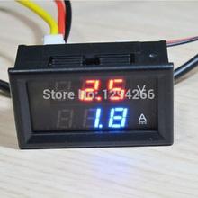Precio más barato rojo azul LED DC 0 – 100 V 10A Dual pantalla del medidor Digital amperímetro del voltímetro del Panel Amp Volt Gauge Red + Blue LED wq6B
