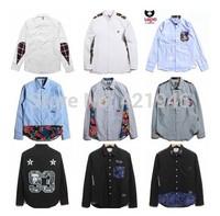Fashon MiMiHoo 2014 new winter clothes BAPE male striped shirt long-sleeved shirt shirt pockets T-shirt wholesale
