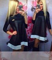 2014 Autumn Winter Long Sleeve Mini Dress New Fashion Lady Elegant Dress High Quality Casual Dress S-XL Black/White