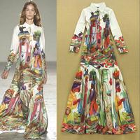 2015 Spring New Fashion Women Shirt Collar Colorful Print Bohemian Maxi Dress Holiday Long Dress F16606