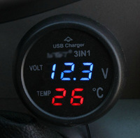 High quality fashion mini black car auto vehicle USB charger temperature thermometer voltage voltmeter