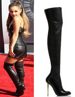 New Fashion Women Top Brand Over Knee Black Back Zipper Stiletto Heel Gladiator Boots Motorcycle Riding Boots