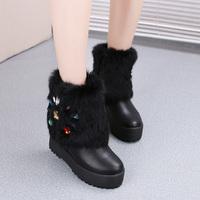 Winter rabbit fur women's elevator shoes padded boots female snow boots rhinestone platform boots platform high-heeled boots