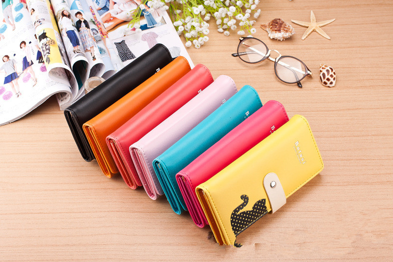 7 colors cute cat leather wallet cheap Wallets Cute lady purse Fashion design Clutch wallet free shipping(China (Mainland))
