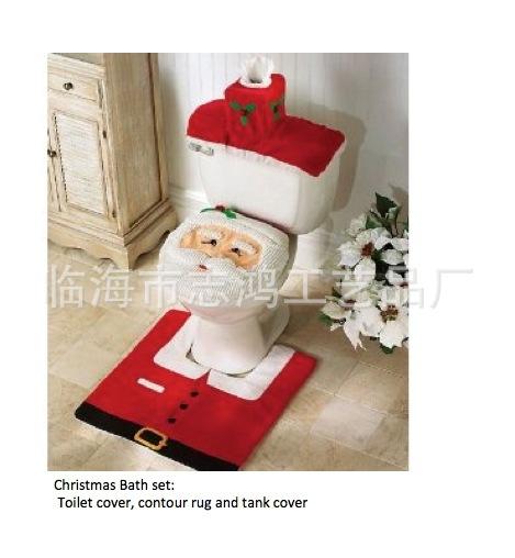 Santa claus réservoir de la toilette couvercle plus tapis plus trois