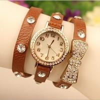 New Arrival Rhinestone Quartz Watches Luxury Analog Casual Butterfly Women Dress Watch,Fashion Leather Bracelet Wrist Watches