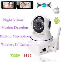 720P HDWireless Mini Network Security IP CCTV Camera Mircophone NightVision WIFI P2P Wireless two-way AudioVideo IP Camera