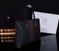 2Size High Quality Men's Brand Genuine Leather Handbag Man Zipper Stripe Handbags DHL Free Shipping Model MY-M5147