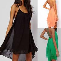 New 2014 Summer Sexy Women Clothing Spaghetti Strap Dresses Backless Beach Dress Green Black Pink Asymmetrical Plus Size Dress