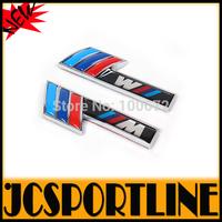 2PCS/SET Free Shipping Car M Motorsport Logo sticker Badge, Alloy Aluminum Side Door 3M 3D Emblems Logo For  BMW