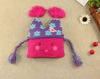2015 New Children Winter Woolen Hat  Baby Girl Knitting Scarecrow Cap Lovely Hats 3 size 46-52cm