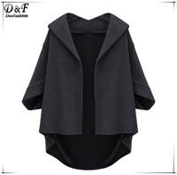 High Fashion Designer Brands 2015 New Women Spring Autumn Most Popular Special Grey Lapel Batwing Half Sleeve Loose Coat