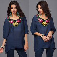 New style Fashion Women's Plus Size Soft Cotton linen 3/4Sleeve O-Neck Casual colorful beading embroidery Blouse dress 4size