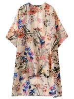 New Arrivals Woman Summer Boho Trendy Colorful Flowers Print Kimono Chiffon Cardigan Long No Button Blouses Tops Shirt Hot Sale