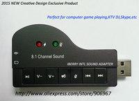 ordenador portatil adaptador audio usb tarjeta de sonido usb 8.1 channel,con el paquete polybag 50pcs/lot envio gratis