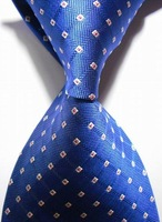 New  2014  Checked White Blue JACQUARD WOVEN Men's Tie Necktie     403