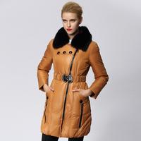 2014 winter luxury large fur collar down coat medium-long female thickening slim women's outerwear female