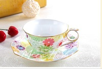 British gilt coffee cup set / bone china cup and saucer