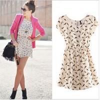 Mini Dress, Plus Size New Fashion 2014 Bargain HOT SALE Women Spring Summer O-neck short sleeve Animal Bird Print Casual Vintage