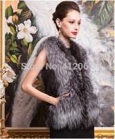 Black Women Silver faux Fox Fur Coats Lady Vest Waistcoat Winter Plus Size Womens gilet Outerwear