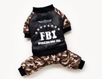 2015 design fashion dog clothes for winter  the FBI camouflage four legs cotton-padded coat cool clothes for dogs
