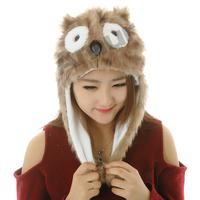 Amur Cartoon Plush Beanie Fleece Winter Warm Animal Bomber Hats owl frog sheep