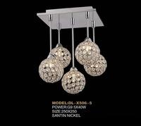 Modern LED k9 crystal chandeliers bedroom living room dining 5 head sphere chandelier