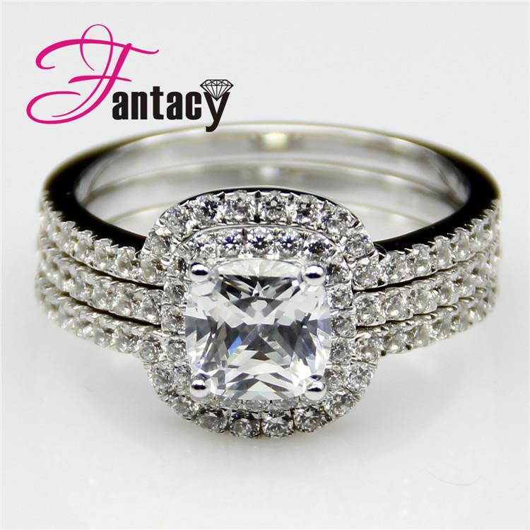 Cushion Cut 2ct Diamond Wedding Set ASCD Simulated Diamond 925 Silver Ring Plate White Gold Accents Engagement Wedding Ring Band(China (Mainland))