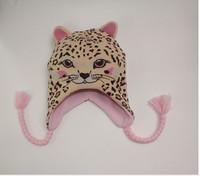 2015 New Kids Winter Cap Pink Leopard Cap Original order Cap 3 size 48cm,50cm,52cm