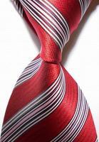 New  2014 Striped White Red JACQUARD WOVEN Men's Tie Necktie     409