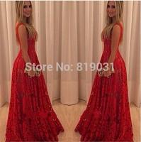S-XL  Vestidos 2015  Fashion Long Maxi Lace Dress Women Sleeveless Vintage Red Evening Party Dresses vestido de festa  Dress